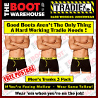TRADIE MEN'S UNDERWEAR - FITTED TRUNKS WITH FLY  -  'YELLOW BANDS'  -  3 PACK