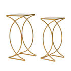 Glitzhome Modern 2PCS Metal Art End Side Table Accent Coffee Stand Furniture Set