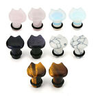 Cute Cat Stone Single Flared Ear Tunnel Plugs With O-Ring 6mm-16mm Womens Mens
