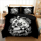 Tattoo Skull Flower Luxury Duvet Cover with Pillow Cases Quilt Cover Bedding Set