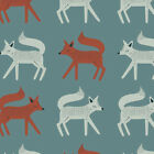 Art Gallery Sneaky Little Fox Fabric / quilting dressmaking teal blue nursery