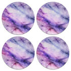 Set of 4 Marble Absorbent Fabric Felt Neoprene Washable ROUND Coasters Cup