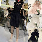 Sexy Ladies Lace Hollow Out Evening Floral Mesh Dress Prom Wedding Fairy Lolita