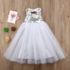 Princess Kids Baby Girls Dress Solid Party Dress Casual Sundress Costume 2-8T