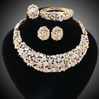 Women Party Bridal Dinner Dress Rhinestone Necklace African Beads Jewelry Sets