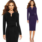 Women Elegant Pleated Notch Neck Ruched Wear To Work Cocktail Party Sheath Dress