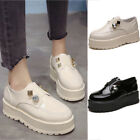 Womens Platform Black Ladies Casual Work School Loafers Flat Shoes Pumps Size
