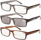3-Pack Spring Hinge Striped Reading Glasses Men Includes Sun Readers