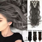 UK Real Thick Weft Clip In Hair Extensions Real 8Pcs 18Clips On Straight Wavy FR