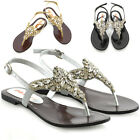 Womens Flat Sandals Slingback Ladies Diamante Dress Strappy Toe Post Shoes Size