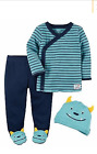 NEW Carter's Boys 3 Piece Layette Set Newborn Monster Cap Pants Top