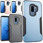 Samsung Galaxy S9 / S9 PLUS Slim HYBRID Carbon Trim Protector Case +Screen Guard