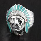 Mens 925 Sterling Silver Big Apatche Head Chief Light Turqiouse Ring 25 Wide