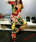 Womens Summer Casual Sport Suits Shorts trousers Printed Cropped Pants T shirts
