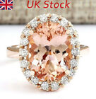 925 Sterling Silver Champagne Engagement Wedding Ring Lady Women Jewelry Ring Uk
