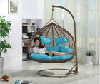 hanging rattan chair - Hanging Rattan Double Swing Chair with Cushion & Stand Rattan (ORANGE CUSHIONS)