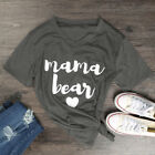 Womens V Neck Letters Printed Basic T-Shirts Loose MAMA BEAR Top Tops Tee