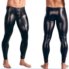 Mens Patent Leather Long Pants Stretchy Trousers Clubwear Skinny Tights M/L 2XL