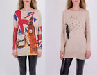 Ladies Long Sleeve Oversize Round Neck Print Loose Knitted Sweater 8-16 UK