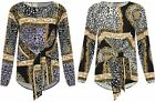 Womens Baroque Scarf Tied Front Detail Crepe Top Ladies Long Sleeve Fancy Blouse