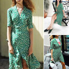 Sexy Women Summer Maxi Dress Party V-Neck Long Beach Lace Up Wrap Dress S M L