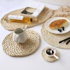 Resuable Round Straw Weave Placemat Heat Insulation Pot Mat Coasters Dinner Mat
