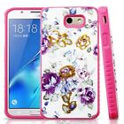 For Samsung Galaxy J7 Sky Pro HYBRID IMPACT Dazzling Diamond Layered Case