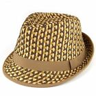 Straw Trilby Hat Hawkins Fedora BLUE BROWN Summer Sun Woven Paper