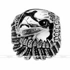 Mens Jewelry Punk Rock Gothic Stainless Steel Carved Vivid Eagle Head Biker Ring