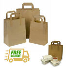 SOS Takeaway Brown Kraft Paper Carrier Bags with Flat Handles - Free Delivery