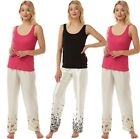 womens LADIES pyjamas set summer sleeveless vest cotton top & satin lounge pant