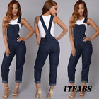 US Womens Skinny Denim Jeans BIB Pants Overalls Straps Jumps