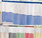 "Kitchen Voile Ready Made Café Net Curtain Panel Gingham Design 18"" Or 24"" Drop"