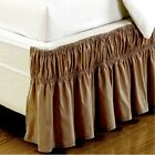 Solid Taupe 600 TC Cotton Wrap Around Ruffle Bed Skirt All Size Drop Length New image