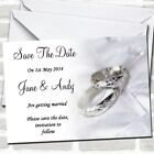 Classy White And Silver Rings Wedding Save The Date Cards