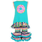 AnnLoren Girls Pink & Blue Donuts High Low Tunic Capri Outfit sz 2/3T-13/14