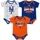 New York Mets Majestic Newborn & Infant Playmaker 3-Piece Bodysuit - Royal
