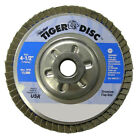 "Weiler 50519 4-1/2"" Tiger Abrasive Flap Disc/Angled/Alum Bcking/60Z, 5/8""-11 Nut"