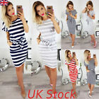 Uk Womens Short Sleeve Bodycon Midi Dress Ladies Summer Striped Dress Size 6-16