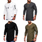 US Men's Slim Fit Long Sleeve T-shirt Fitness Workout Gym Cl