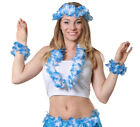 BLUE 4 PIECE HAWAIIAN LEI SET FLOWER NECKLACE HEADBAND BRACELETS FANCY DRESS