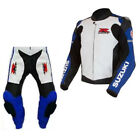 GSXR SUZUKI RACING BIKER LEATHER SUIT MOTO GP MOTORCYCLE LEATHER JACKET TROUSER