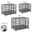 "37""/42""/48"" Dog Crate Kennel Heavy Duty Pet Cage Playpen w/ Tray Pan Wheels XL"