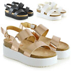 Womens Low Heel Platform Wedge Sandals Ladies Strappy Flat Chunky Shoes Size 3-8