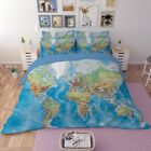 World Map Luxury Duvet Cover with Pillow Cases Bedding Set Single Size HD Print