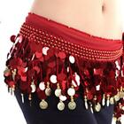Belly Dance Hip Wrap Scarf Skirt Belt Dancing Costume with Gold Coins&Sequins US