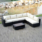 Sectional Outdoor Patio Rattan Pe Wicker Sofa Set Couch Garden Furniture W/table