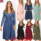 Uk Womens Summer Casual Midi Dress Ladies Long Sleeve V-neck Pocket Sun Dresses