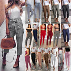 Women High Waist Paperbag Trousers Ladies Striped Casual Straight Long Pants Hot