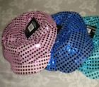 Sequin Cabbie Style Caps Party Hats Multi-Color Royal Blue OR Hot  Pink